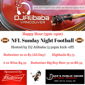 """Sunday Night Football"" @ Jack's Public House"